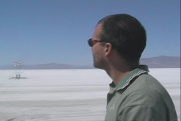 John Reed on Salt Flats with his Wind-Driven Rover
